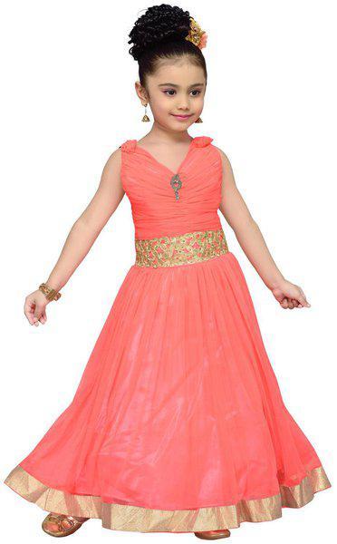 ADIVA Girl's Gown for Kids (G_1771_Peach_24)