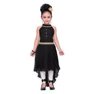 Adiva Black Georgette Sleeveless Knee Length Princess Frock ( Pack of 1 )