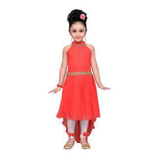 Adiva Orange Georgette Sleeveless Knee Length Princess Frock ( Pack of 2 )