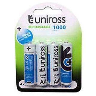 Aa 1000 Mah Uniross Rechargeable Batteries X 4 Pcs