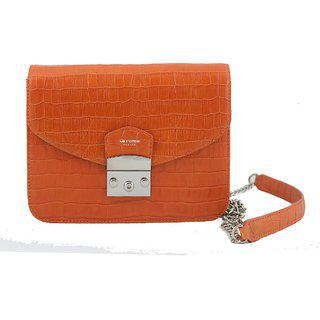 La Roma Women's Leather Stylish Orange Sling And Crossbody Bag