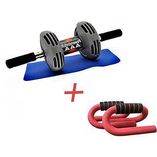 Ibs Power Stretch Roller With Instafit Free Mat And 1 Push Up Bar Ab Exerciser (greyblack)