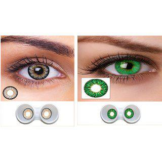 Magjons Combo Of Grey And Green Fashion Colour Contact Lens With Case Solution '0' Power