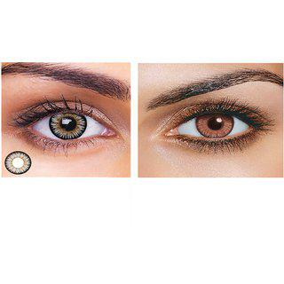 Magjons Combo Of Grey And Honey Fashion Colour Contact Lens With Case Solution '0' Power
