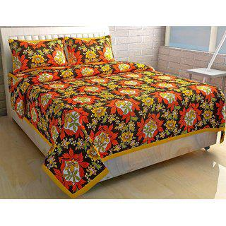 Volvo Cotton Printed Double Bedsheet With 2 Pillow Covers.