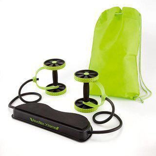 Ibs Revoflex Xtreme Resistance Slimming Extreme Rubber Abexerciser Workout Power Bands Roller Wheel(green Black)