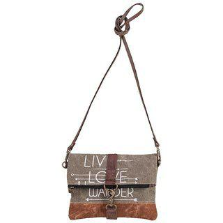 Mona B Up-cycled Canvas Bag Live Love Wander Crossbody 9 Wide X 8 Tall X 2d