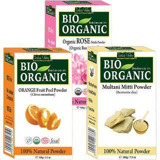 Indus Valley Bio Organic Multani Mitti Powder plus Orange Peel Mask plus Rose Petals Natural Powder- 3-in-1 Combo Set