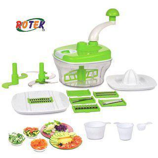 Rotek 10 In One Manual Food Processor Multipurpose Use Fruit Vegetable Chopper Slicer Juicer Grater Dough Maker