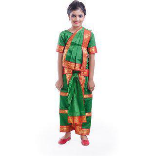 Fancydresswale Bharatnayam Dance Green Dress Costume For Kids