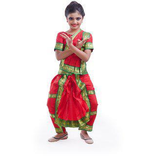 Fancydresswale Bharatnayam Dance Red Dress Costume For Kids