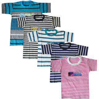 Jisha Fashion Boys Multicolor Cotton Tshirts (pack Of 5)