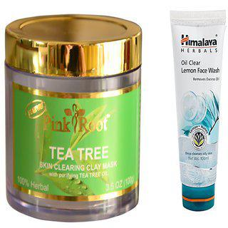 Pink Root Tea Tree Skin Clearing Clay Mask (100gm) With Himalaya Oil Clear Lemon Face Wash (100ml) Pack Of 2