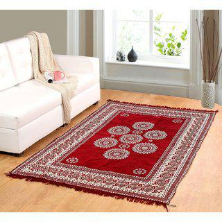 Welhouse India Red Chenille Carpet (85 Inch X 55 Inch) Cnt-08