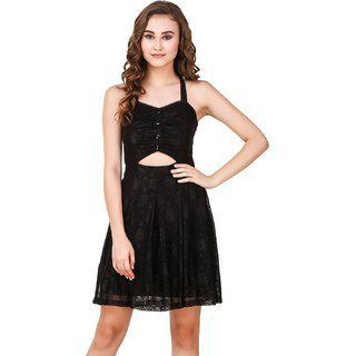 Texco Black Cut-outs Detailing Stylish Bow Back Lace Embelished Party Skater Dress