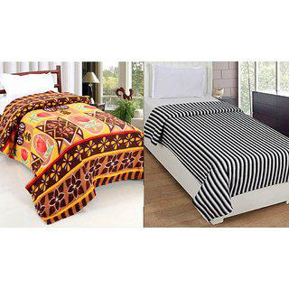 Peponi Pack Of 2 Floral Checkered Single Bed Super Lite Fleece Blanket (56x90)inch