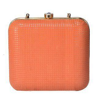Tarusa Orange Solid Clutch