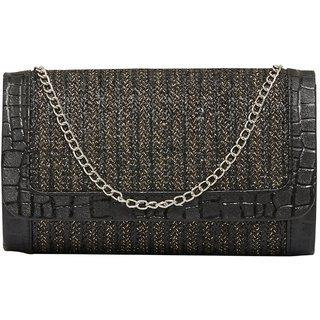 Tarusa Black Sling Bag With Gold Border For Women