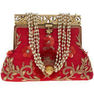 Tarusa Red Silk Material Batua/purse/clutch For Women