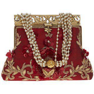 Tarusa Maroon Silk Material Batua/purse/clutch For Women