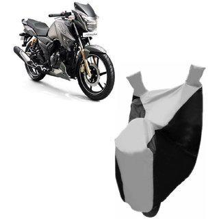 Kaaz Premium Silver With Black Bike Body Cover For Tvs Apache Rtr 180