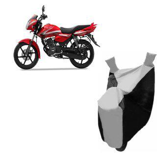 Autoage Premium Silver With Black Bike Body Cover For Tvs Phoenix