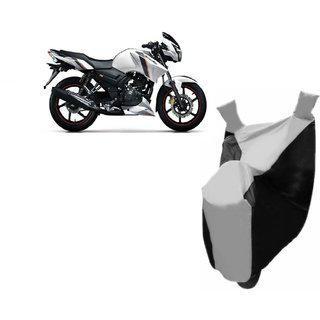 Autoage Premium Silver With Black Bike Body Cover For Tvs Apache Rtr 160