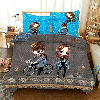 Kuber Industries Double Bedsheet With 2 Pillow Covers King Size Exclusive Cartoon Print- Imported Fabric (kw12)