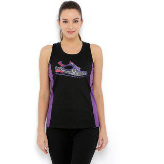 Tuna London Black Color Round Neck Cotton Tank Top For Womens