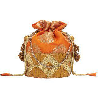 Tarusa Multicolor Silk Material Embroidered Potli For Women