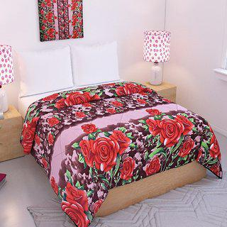 Brown Floral Double Bed Reversible Blanket- By Azaani