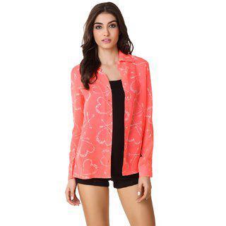 Texco Hott Pink Heart Printed Casual Shirt
