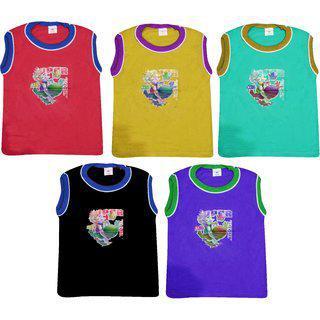 Jisha Fashion Plain Sleeveless Tshirt Unisex ( Pack Of 5)