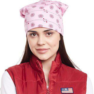 Vimal Jonney Pink Printed Cotton Beanie Cap For Women-CAP_PRINTNO.6_PINK_001