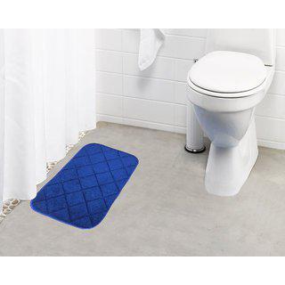 Lushomes Blue Super Soft Memory Foam Bathmat ( Bathmat Size 12 X 20 Single Pc)