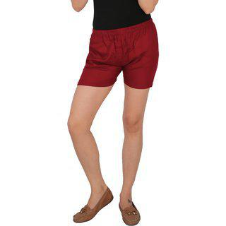 Culture The Dignity Women's Solid Rayon Shorts With Side Pockets - Maroon - C_rsht_m - Free Size