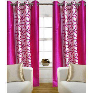 S Trendz Printed Kolaveri Pink Door Curtain Set Of 2 (4x9)ft