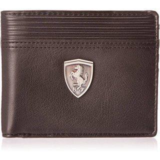 Puma Men Casual Brown Genuine Leather Wallet(6 Card Slots)