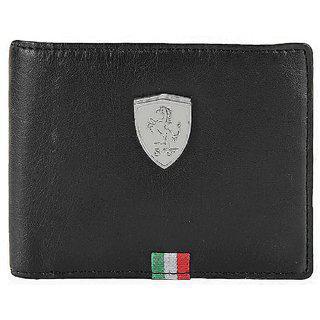 Puma Men Casual Black Genuine Leather Wallet 3 Card Slots