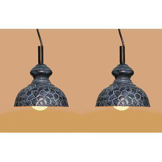 Ah Grey Color Geometrical Design Iron Pendant Light / Ceiling Lamp Ceiling Light / Hanging Lamp Hanging Light ( Pack Of 2 )