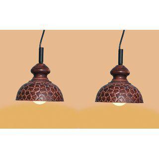 Ah Brown Color Geometrical Design Iron Pendant Light / Ceiling Lamp Ceiling Light / Hanging Lamp Hanging Light ( Pack Of 2 )
