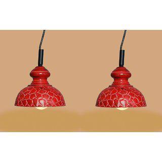 Ah Red Color Geometrical Design Iron Pendant Light / Ceiling Lamp Ceiling Light / Hanging Lamp Hanging Light ( Pack Of 2 )