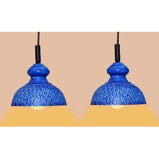 Ah Blue Color Geometric Design Iron Pendant Light / Ceiling Lamp Ceiling Light / Hanging Lamp Hanging Light ( Pack Of 2 )
