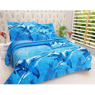 Milap Dolphin Double Bedsheet With 2 Pillow Covers