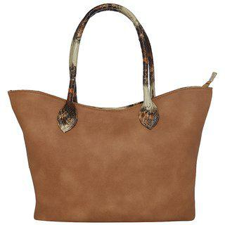 Tarusa Coffee Brown Faux Leather Abstract Tote Bag For Women
