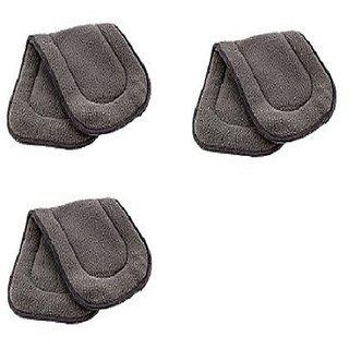 Kuhu Creations Washable Extra Thick 5 Layers Reusable Cloth Insert For Diaper/nappy. (grey 3 Unit)