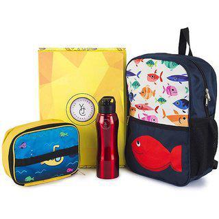 The Yellow Jersey Company (yjc) 3 Item Set- Underwater Theme (school Bag (blue) plus Lunch Bag plus Bottle)