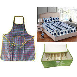 Welhouse India 1 Double Bedsheet 2pillow Cover 1 Apron 1 Storage Box