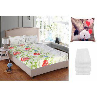 Welhouse India 1 Double Bedsheet 2pillow Cover 4 Face Towel 1 Cushion Cover