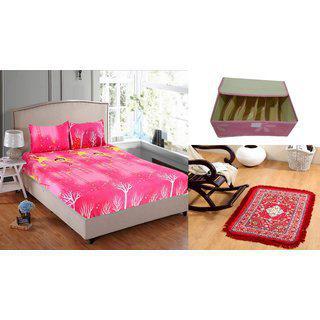 Welhouse India 1 Double Bedsheet 2pillow Cover 1 Prayer Mat 1 Storage Box
